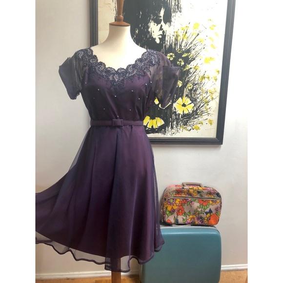 Vintage Dresses & Skirts - Deep Purple Vintage Dress